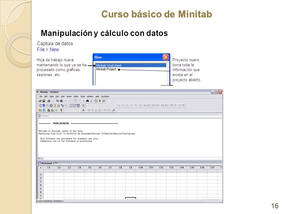 Curso básico de Minitab 16 Manipulación y cálculo con datos