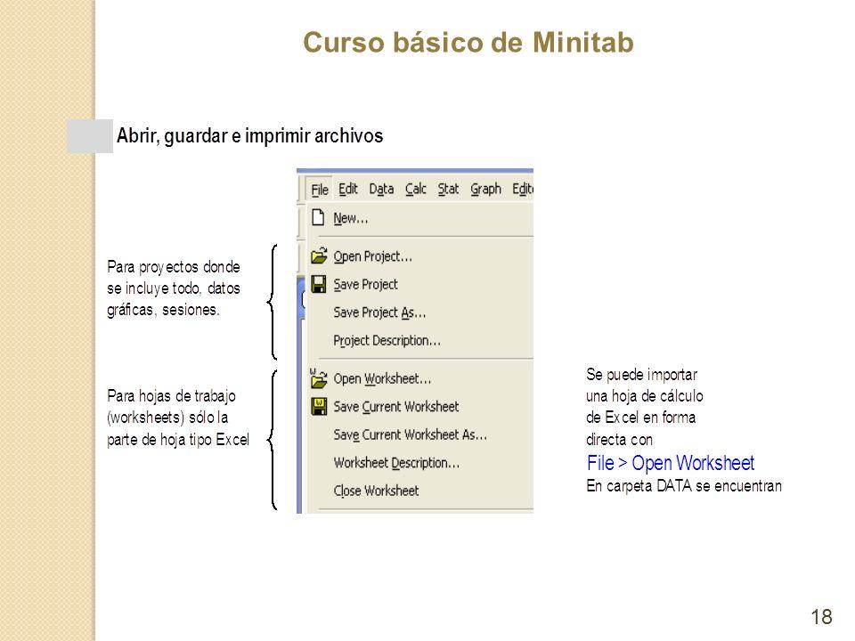 Curso básico de Minitab 18