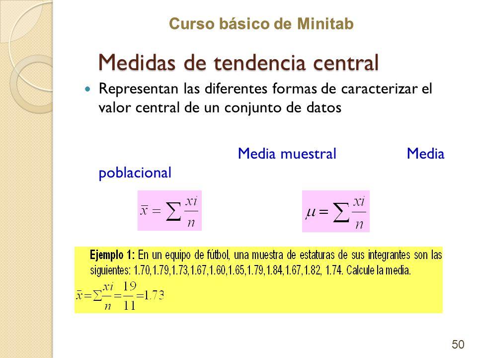 Curso básico de Minitab Medidas de tendencia central Representan las diferentes formas de caracterizar el valor central de un conjunto de datos Media