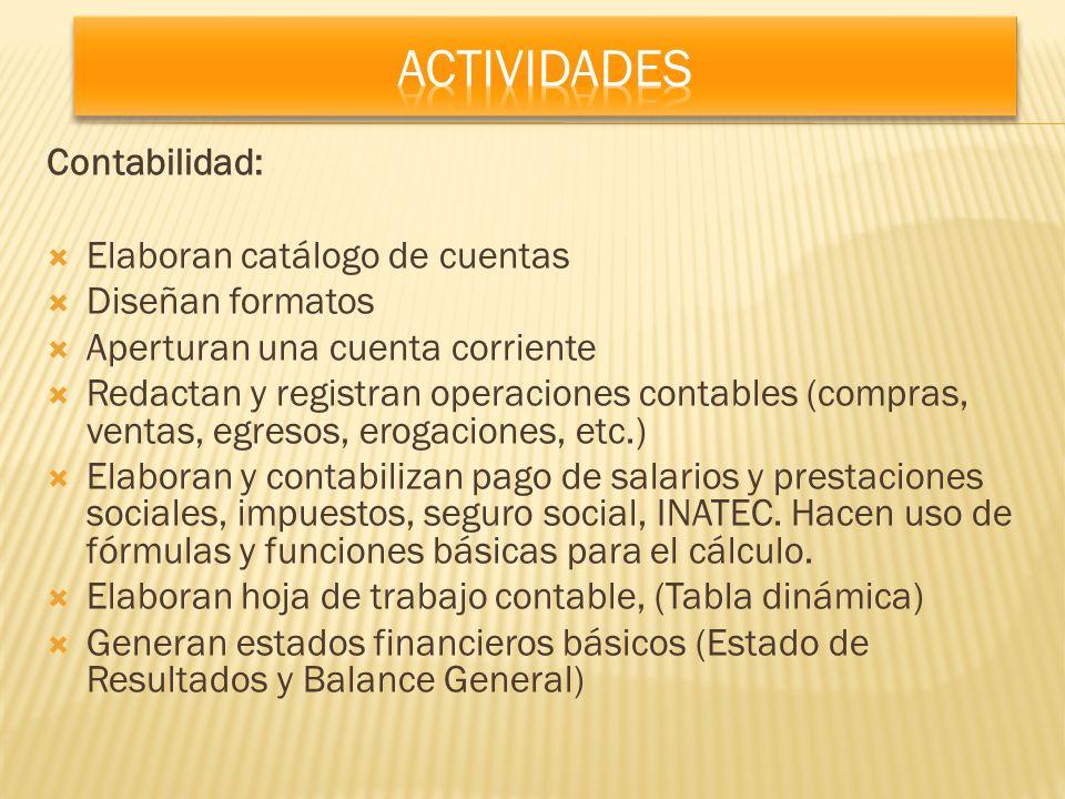 Contabilidad: Elaboran catálogo de cuentas Diseñan formatos Aperturan una cuenta corriente Redactan y registran operaciones contables (compras, ventas