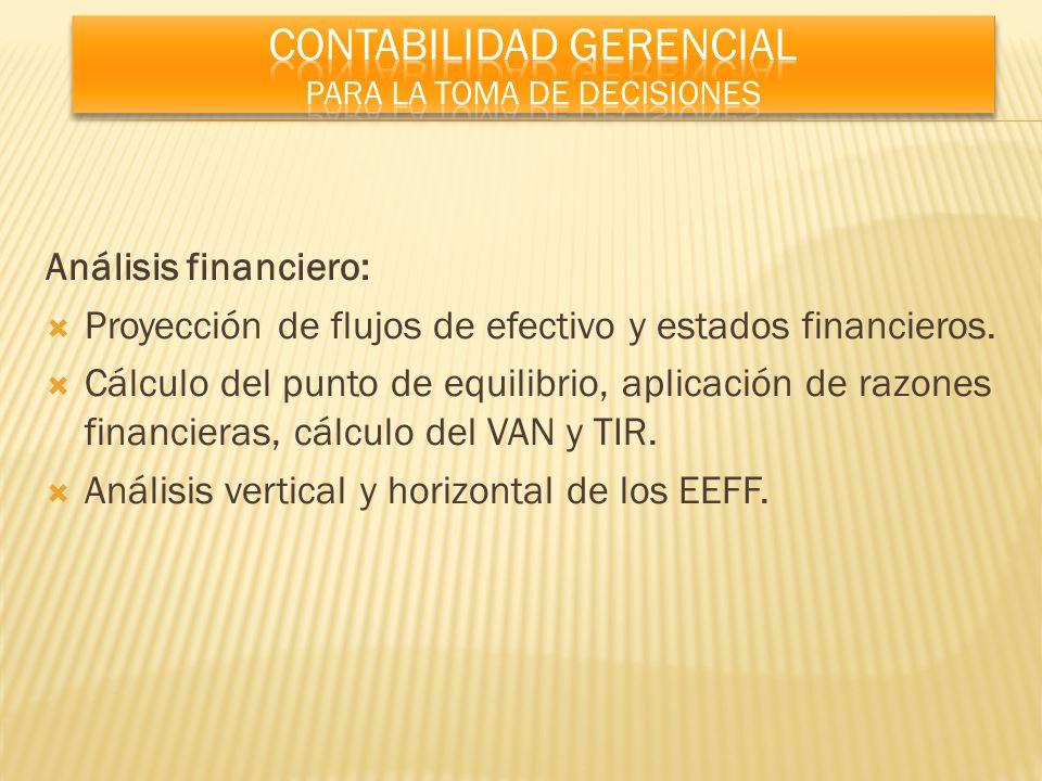 Análisis financiero: Proyección de flujos de efectivo y estados financieros. Cálculo del punto de equilibrio, aplicación de razones financieras, cálcu