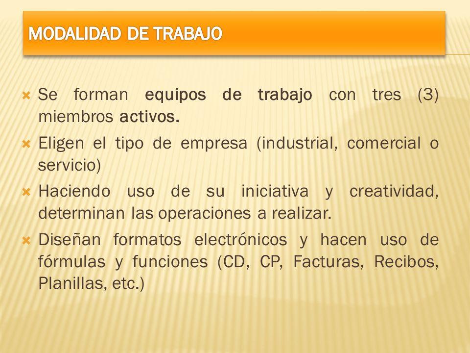 Se forman equipos de trabajo con tres (3) miembros activos. Eligen el tipo de empresa (industrial, comercial o servicio) Haciendo uso de su iniciativa