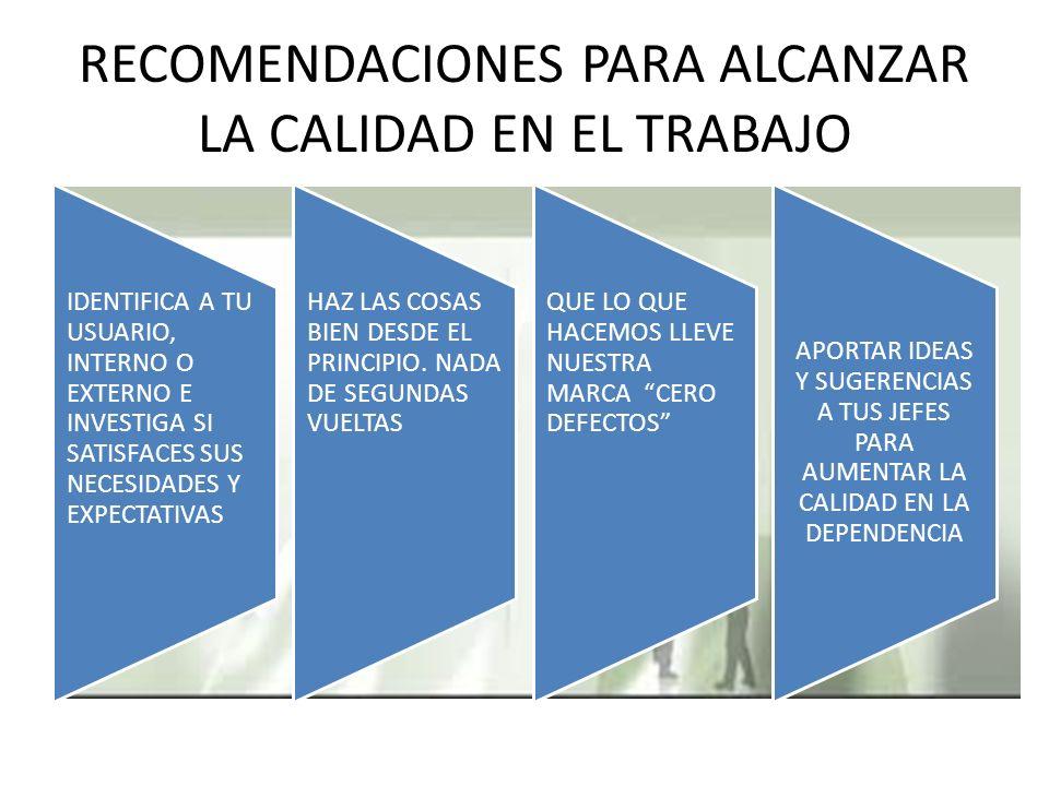 RECOMENDACIONES PARA ALCANZAR LA CALIDAD EN EL TRABAJO IDENTIFICA A TU USUARIO, INTERNO O EXTERNO E INVESTIGA SI SATISFACES SUS NECESIDADES Y EXPECTATIVAS HAZ LAS COSAS BIEN DESDE EL PRINCIPIO.