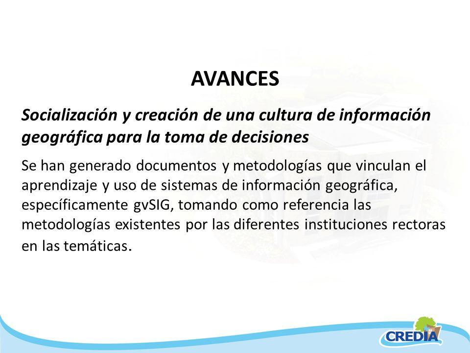 AVANCES Socialización y creación de una cultura de información geográfica para la toma de decisiones Se han generado documentos y metodologías que vin