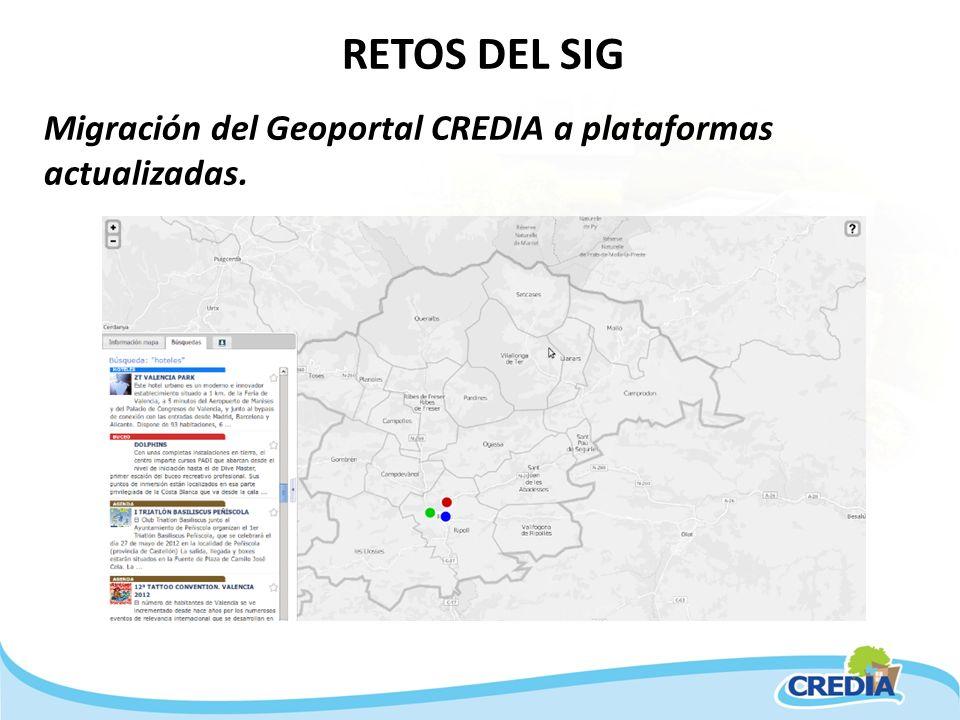 RETOS DEL SIG Migración del Geoportal CREDIA a plataformas actualizadas.