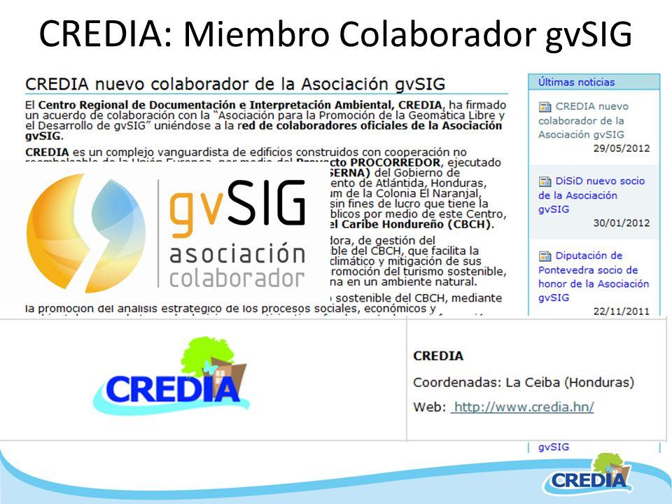 CREDIA: Miembro Colaborador gvSIG