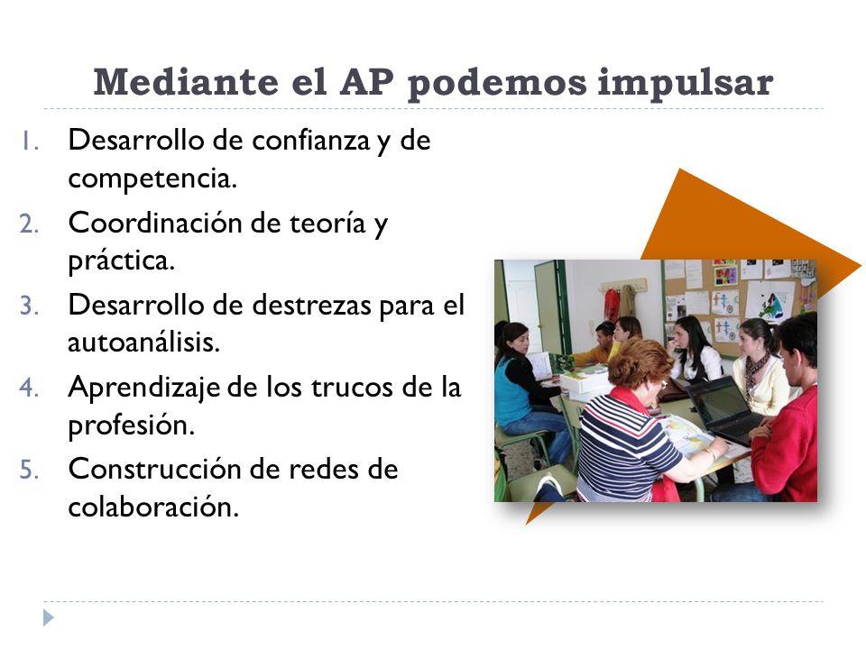Mediante el AP podemos impulsar 1. Desarrollo de confianza y de competencia. 2. Coordinación de teoría y práctica. 3. Desarrollo de destrezas para el