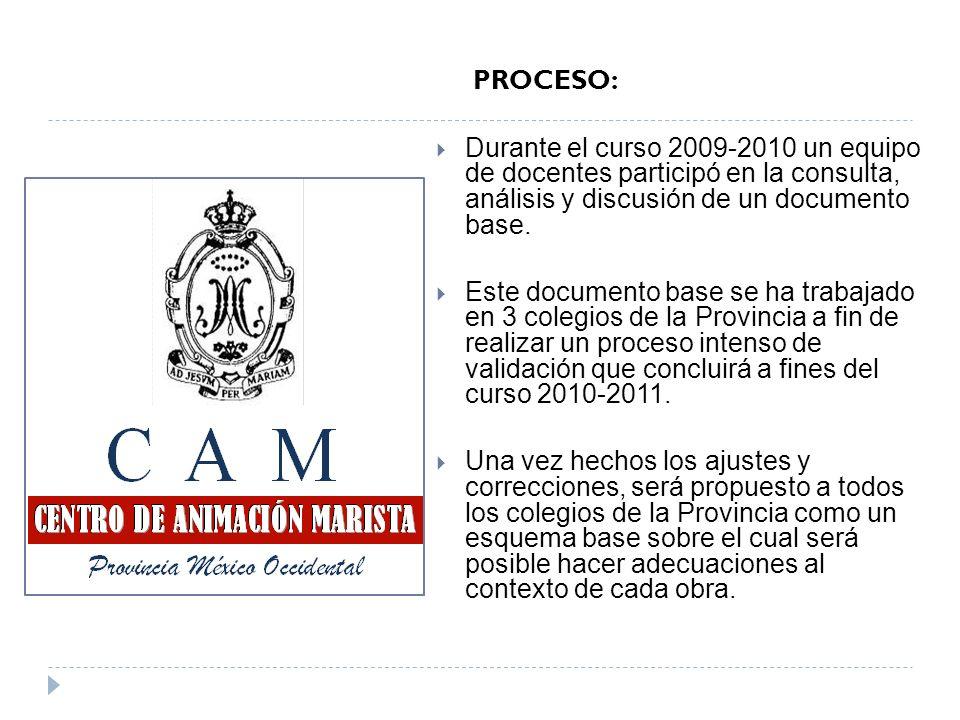 PROCESO: Durante el curso 2009-2010 un equipo de docentes participó en la consulta, análisis y discusión de un documento base. Este documento base se