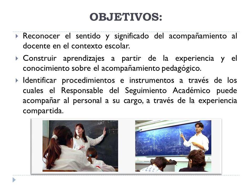 OBJETIVOS: Reconocer el sentido y significado del acompañamiento al docente en el contexto escolar. Construir aprendizajes a partir de la experiencia