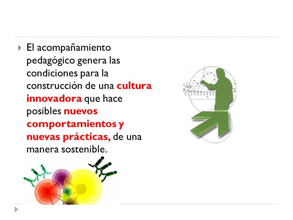 El acompañamiento pedagógico genera las condiciones para la construcción de una cultura innovadora que hace posibles nuevos comportamientos y nuevas p