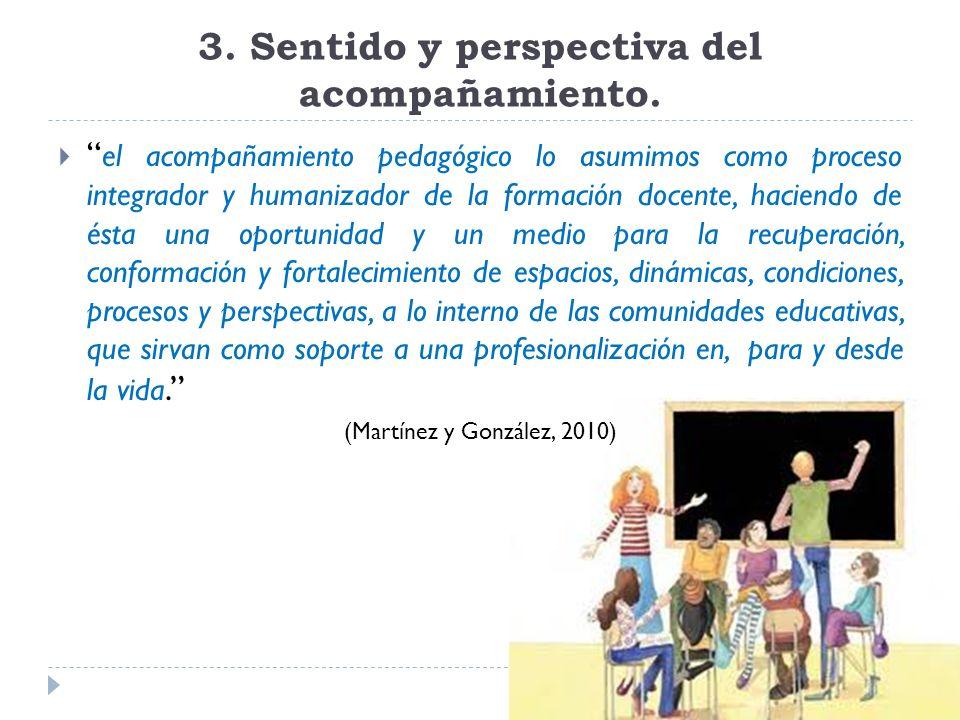 3. Sentido y perspectiva del acompañamiento. el acompañamiento pedagógico lo asumimos como proceso integrador y humanizador de la formación docente, h