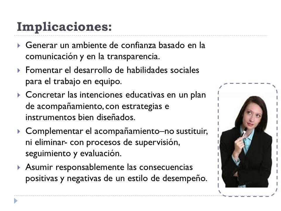 Implicaciones: Generar un ambiente de confianza basado en la comunicación y en la transparencia. Fomentar el desarrollo de habilidades sociales para e
