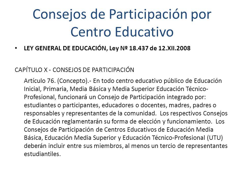 Consejos de Participación por Centro Educativo LEY GENERAL DE EDUCACIÓN, Ley Nº 18.437 de 12.XII.2008 CAPÍTULO X - CONSEJOS DE PARTICIPACIÓN Artículo 76.