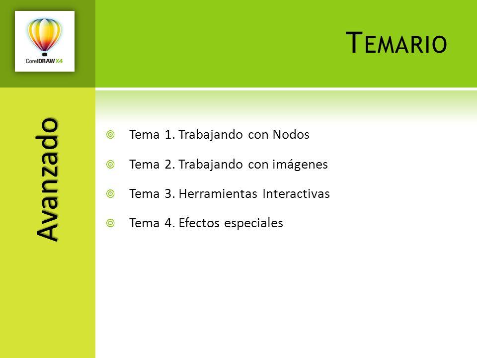 T EMARIO Tema 1. Trabajando con Nodos Tema 2. Trabajando con imágenes Tema 3. Herramientas Interactivas Tema 4. Efectos especiales Avanzado