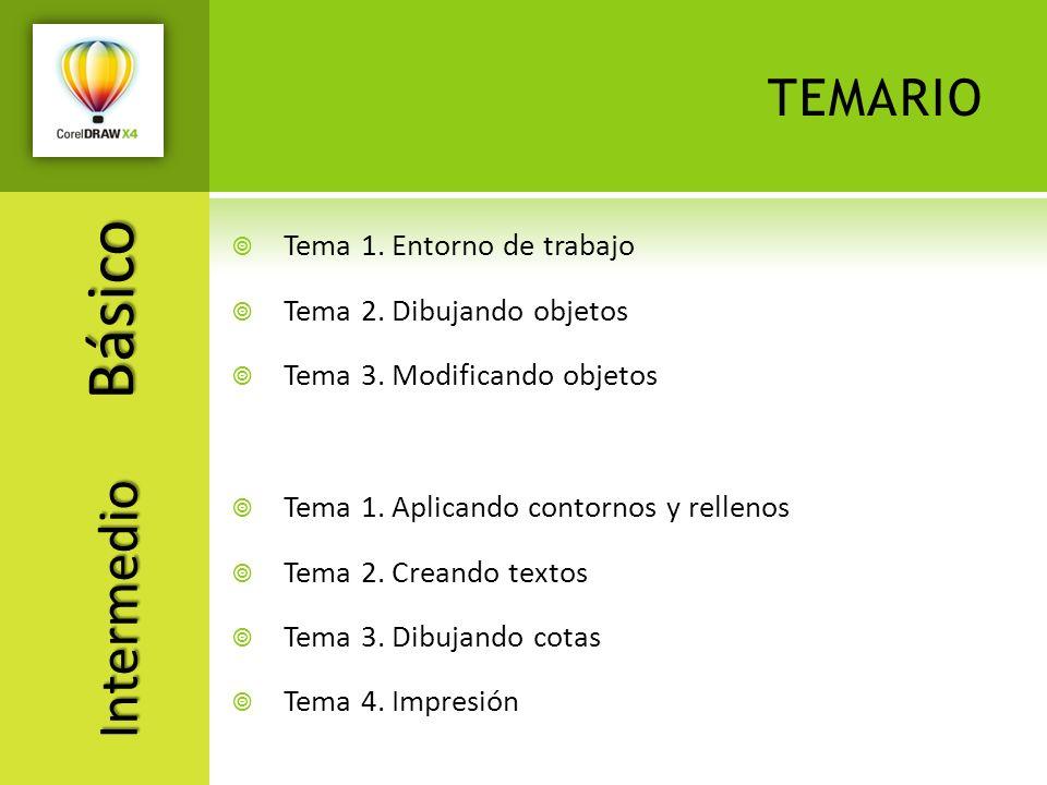 TEMARIO Tema 1. Entorno de trabajo Tema 2. Dibujando objetos Tema 3. Modificando objetos Básico Tema 1. Aplicando contornos y rellenos Tema 2. Creando