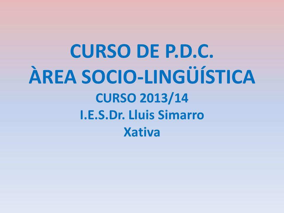CURSO DE P.D.C. ÀREA SOCIO-LINGÜÍSTICA CURSO 2013/14 I.E.S.Dr. Lluis Simarro Xativa