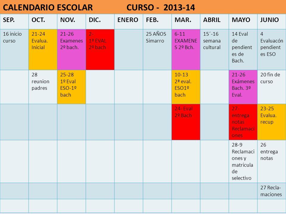 CALENDARIO ESCOLAR CURSO - 2013-14 SEP.OCT.NOV.DIC.ENEROFEB.MAR.ABRILMAYOJUNIO 16 inicio curso 21-24 Evalua. Inicial 21-26 Examenes 2º bach. 2- 1ª EVA