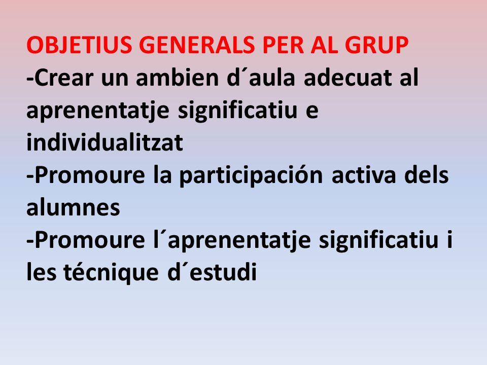 OBJETIUS GENERALS PER AL GRUP -Crear un ambien d´aula adecuat al aprenentatje significatiu e individualitzat -Promoure la participación activa dels al