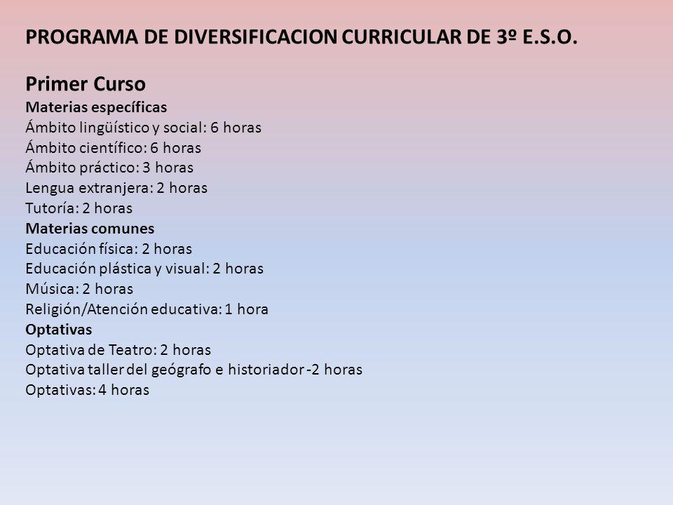 PROGRAMA DE DIVERSIFICACION CURRICULAR DE 3º E.S.O. Primer Curso Materias específicas Ámbito lingüístico y social: 6 horas Ámbito científico: 6 horas