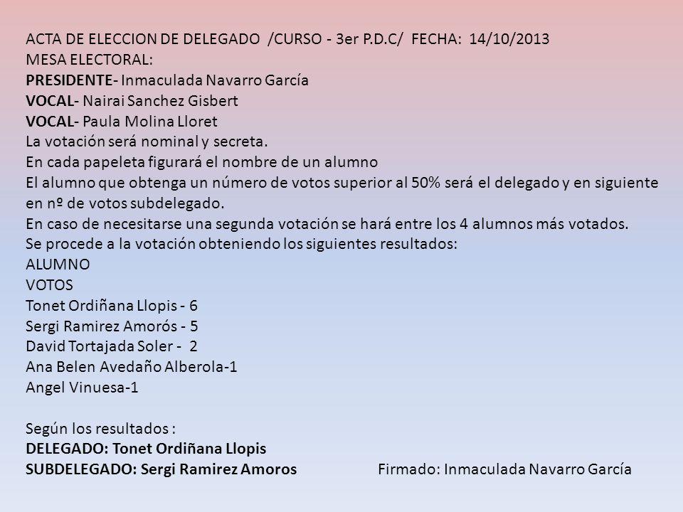 ACTA DE ELECCION DE DELEGADO /CURSO - 3er P.D.C/ FECHA: 14/10/2013 MESA ELECTORAL: PRESIDENTE- Inmaculada Navarro García VOCAL- Nairai Sanchez Gisbert