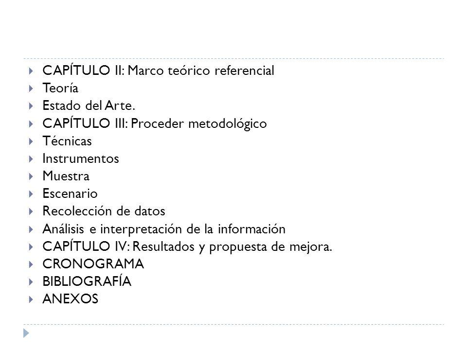 CAPÍTULO II: Marco teórico referencial Teoría Estado del Arte. CAPÍTULO III: Proceder metodológico Técnicas Instrumentos Muestra Escenario Recolección