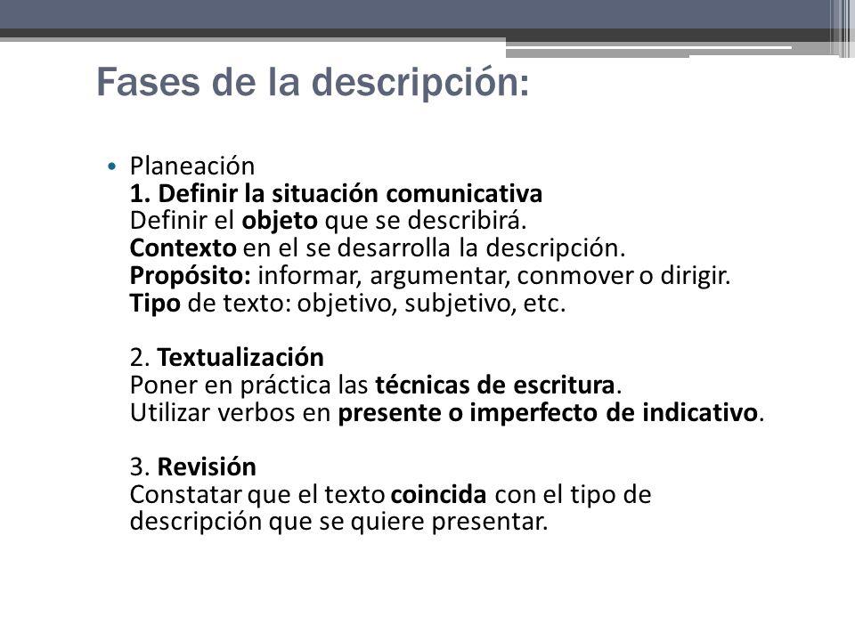 Fases de la descripción: Planeación 1.