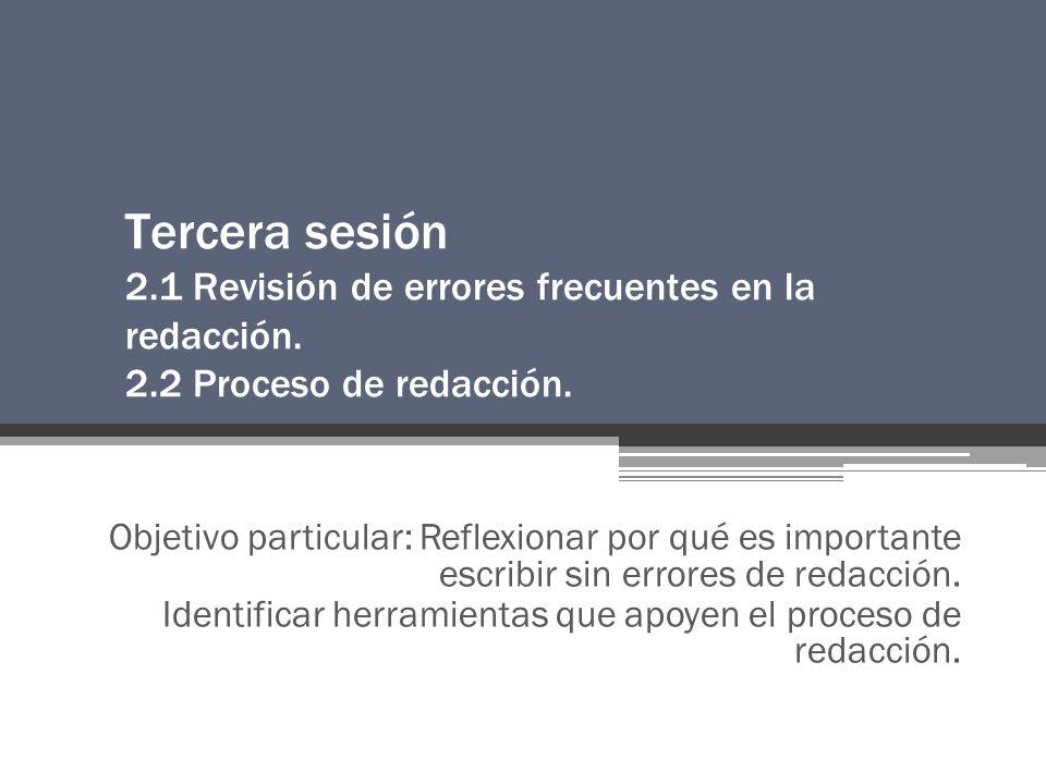 Tercera sesión 2.1 Revisión de errores frecuentes en la redacción.