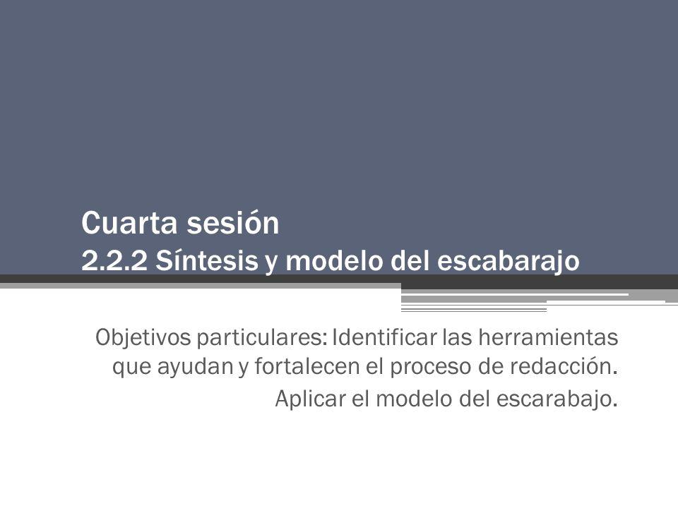 Cuarta sesión 2.2.2 Síntesis y modelo del escabarajo Objetivos particulares: Identificar las herramientas que ayudan y fortalecen el proceso de redacción.