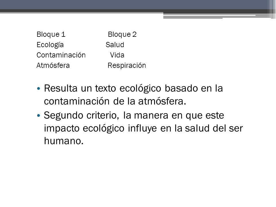 Bloque 1 Bloque 2 Ecología Salud Contaminación Vida Atmósfera Respiración Resulta un texto ecológico basado en la contaminación de la atmósfera.