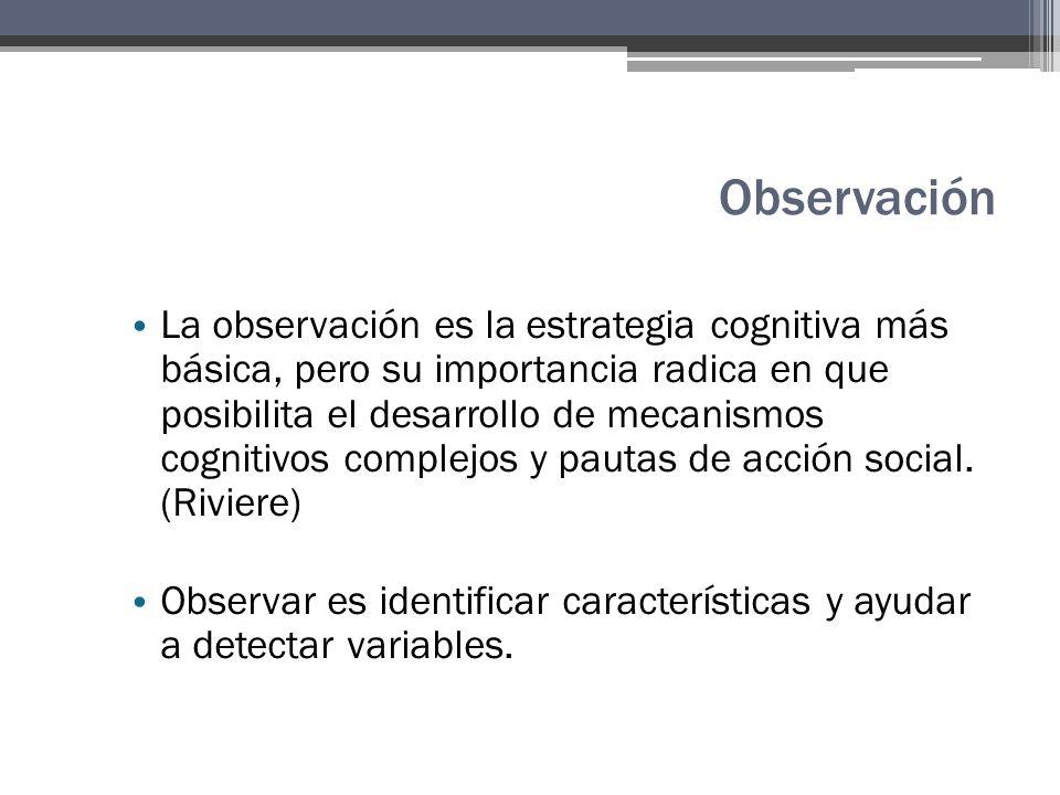 Observación La observación es la estrategia cognitiva más básica, pero su importancia radica en que posibilita el desarrollo de mecanismos cognitivos complejos y pautas de acción social.