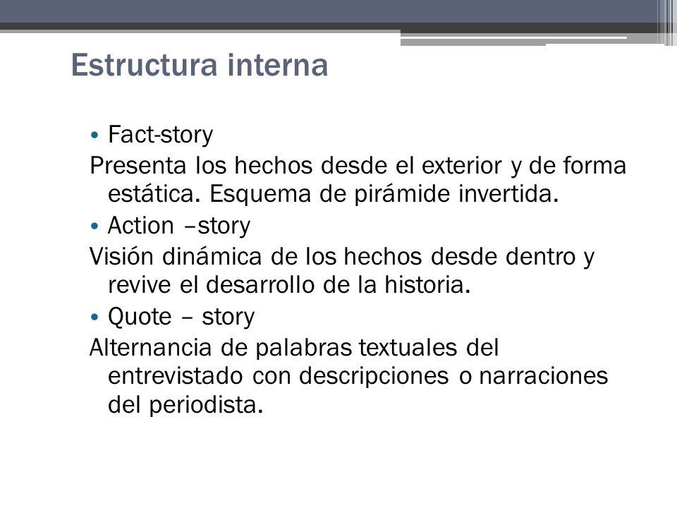 Estructura interna Fact-story Presenta los hechos desde el exterior y de forma estática.