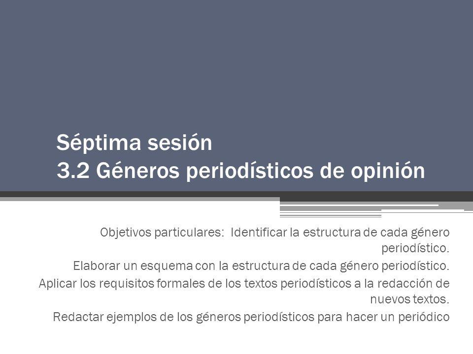 Séptima sesión 3.2 Géneros periodísticos de opinión Objetivos particulares: Identificar la estructura de cada género periodístico.