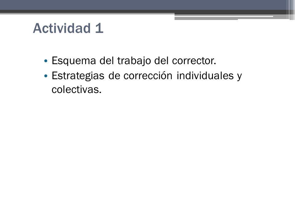 Actividad 1 Esquema del trabajo del corrector. Estrategias de corrección individuales y colectivas.