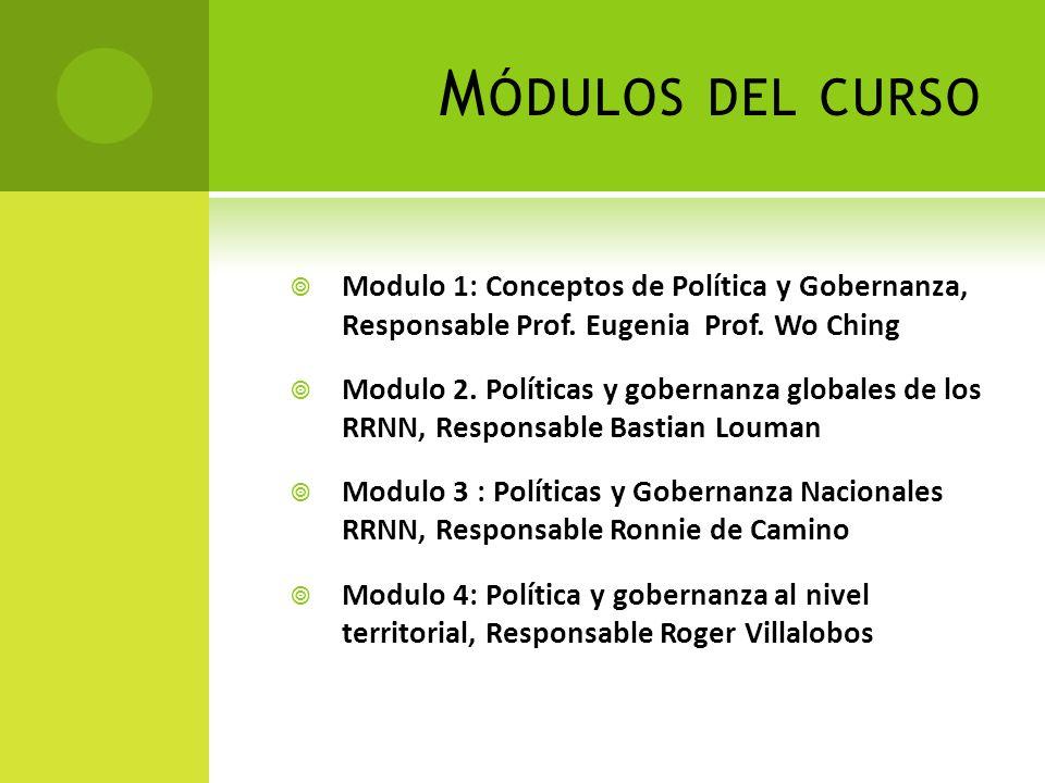 M ÓDULOS DEL CURSO Modulo 1: Conceptos de Política y Gobernanza, Responsable Prof. Eugenia Prof. Wo Ching Modulo 2. Políticas y gobernanza globales de