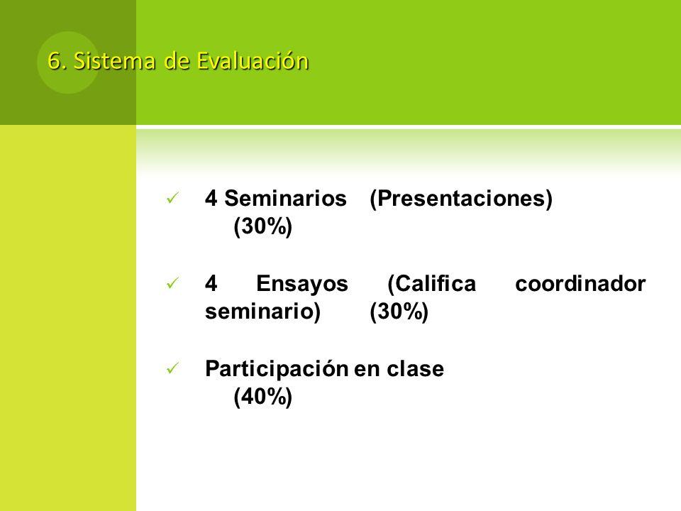 6. Sistema de Evaluación 4 Seminarios(Presentaciones) (30%) 4 Ensayos (Califica coordinador seminario)(30%) Participación en clase (40%)