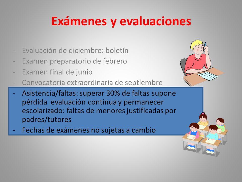 -Evaluación de diciembre: boletín -Examen preparatorio de febrero -Examen final de junio -Convocatoria extraordinaria de septiembre -Asistencia/faltas