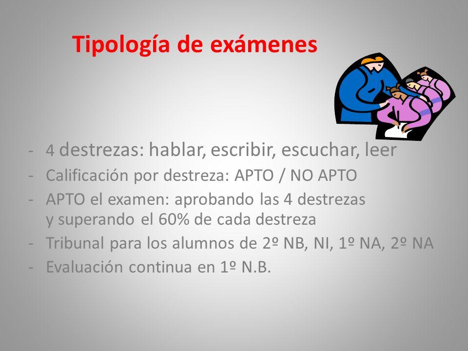 Tipología de exámenes -4 destrezas: hablar, escribir, escuchar, leer -Calificación por destreza: APTO / NO APTO -APTO el examen: aprobando las 4 destr