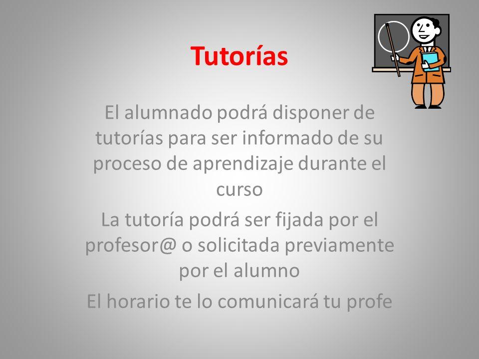 Tutorías El alumnado podrá disponer de tutorías para ser informado de su proceso de aprendizaje durante el curso La tutoría podrá ser fijada por el pr