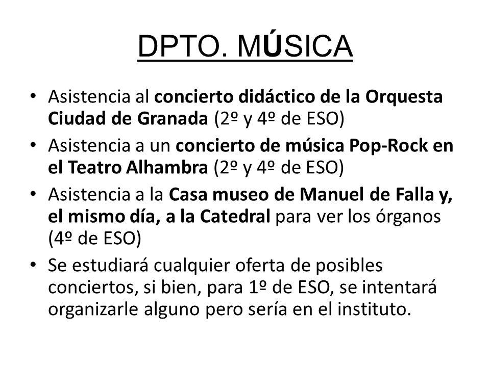 DPTO. MÚSICA Asistencia al concierto didáctico de la Orquesta Ciudad de Granada (2º y 4º de ESO) Asistencia a un concierto de música Pop-Rock en el Te