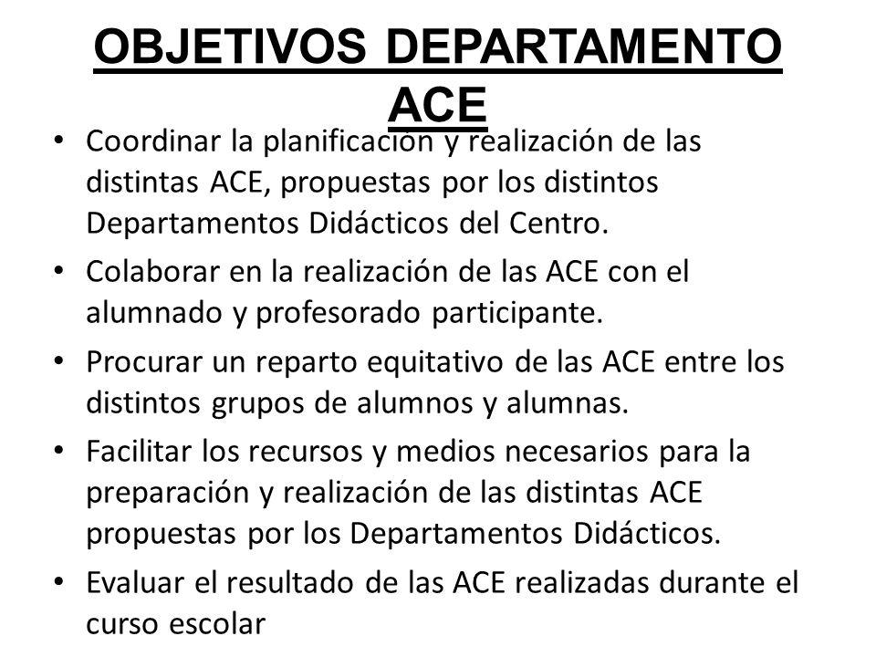 OBJETIVOS DEPARTAMENTO ACE Coordinar la planificación y realización de las distintas ACE, propuestas por los distintos Departamentos Didácticos del Ce