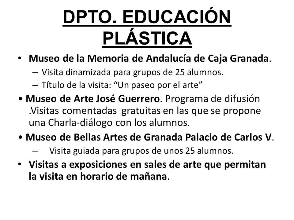 DPTO. EDUCACIÓN PLÁSTICA Museo de la Memoria de Andalucía de Caja Granada. – Visita dinamizada para grupos de 25 alumnos. – Título de la visita: Un pa