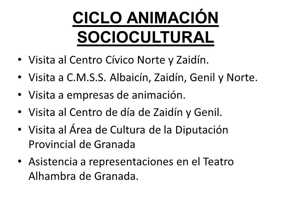 CICLO ANIMACIÓN SOCIOCULTURAL Visita al Centro Cívico Norte y Zaidín. Visita a C.M.S.S. Albaicín, Zaidín, Genil y Norte. Visita a empresas de animació
