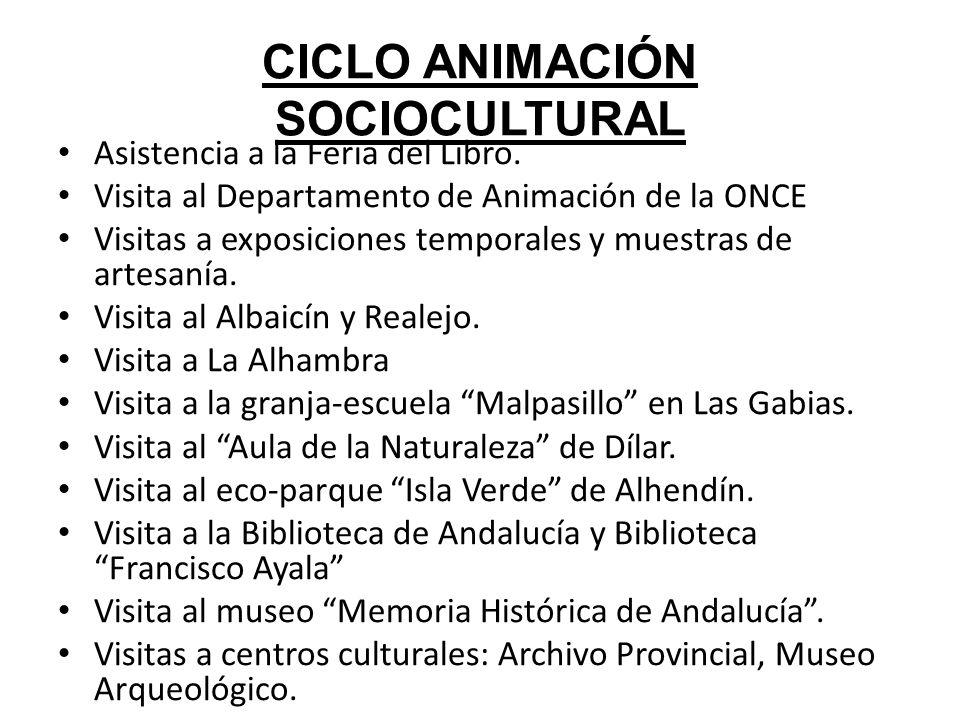 CICLO ANIMACIÓN SOCIOCULTURAL Asistencia a la Feria del Libro. Visita al Departamento de Animación de la ONCE Visitas a exposiciones temporales y mues