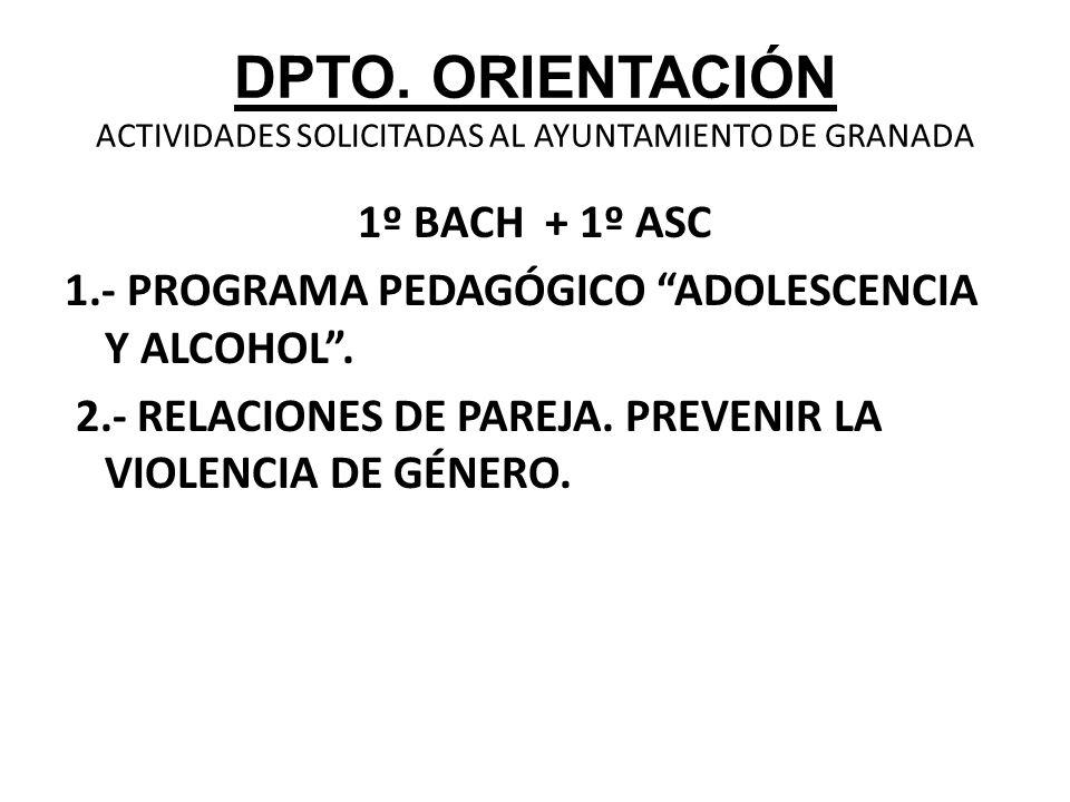 DPTO. ORIENTACIÓN ACTIVIDADES SOLICITADAS AL AYUNTAMIENTO DE GRANADA 1º BACH + 1º ASC 1.- PROGRAMA PEDAGÓGICO ADOLESCENCIA Y ALCOHOL. 2.- RELACIONES D