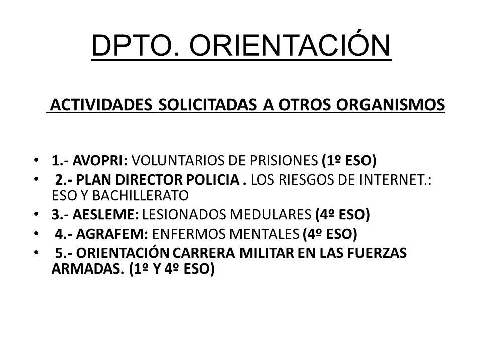 DPTO. ORIENTACIÓN ACTIVIDADES SOLICITADAS A OTROS ORGANISMOS 1.- AVOPRI: VOLUNTARIOS DE PRISIONES (1º ESO) 2.- PLAN DIRECTOR POLICIA. LOS RIESGOS DE I