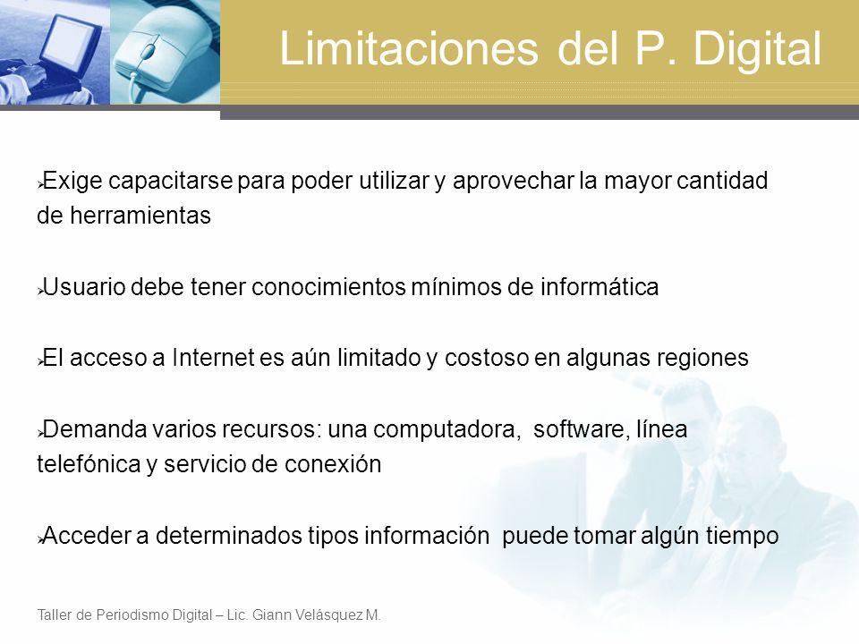 Limitaciones del P.