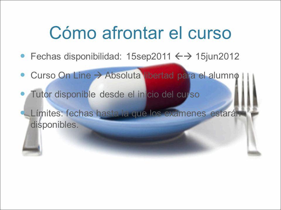 Cómo afrontar el curso Fechas disponibilidad: 15sep2011 15jun2012 Curso On Line Absoluta libertad para el alumno Tutor disponible desde el inicio del