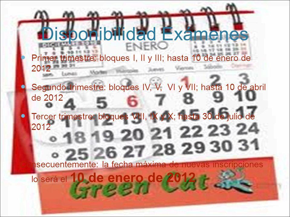 Disponibilidad Exámenes Primer trimestre: bloques I, II y III; hasta 10 de enero de 2012 Segundo trimestre: bloques IV, V, VI y VII; hasta 10 de abril