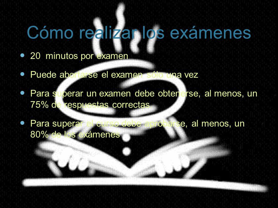 20 minutos por examen Puede abortarse el examen sólo una vez Para superar un examen debe obtenerse, al menos, un 75% de respuestas correctas. Para sup