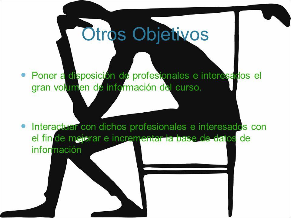 Otros Objetivos Poner a disposición de profesionales e interesados el gran volumen de información del curso. Interactuar con dichos profesionales e in